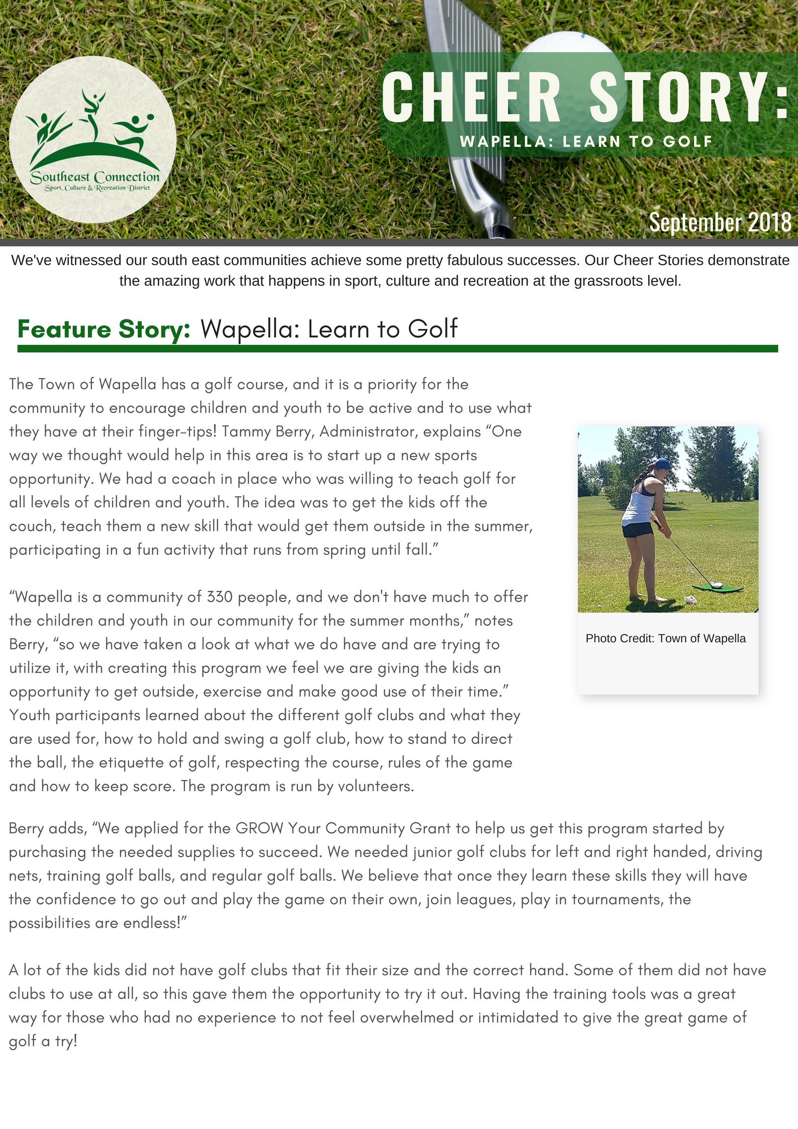 Cheer Story: Wapella Learn to Golf - Image 1