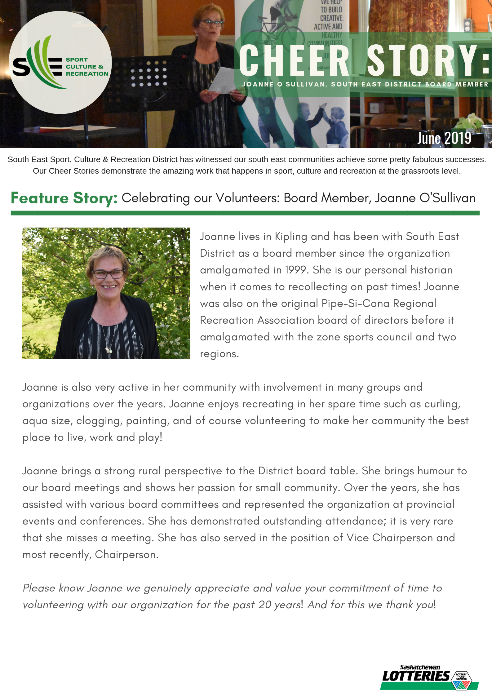 Cheer Story: Celebrating our Volunteers, Joanne O'Sullivan - Image 1