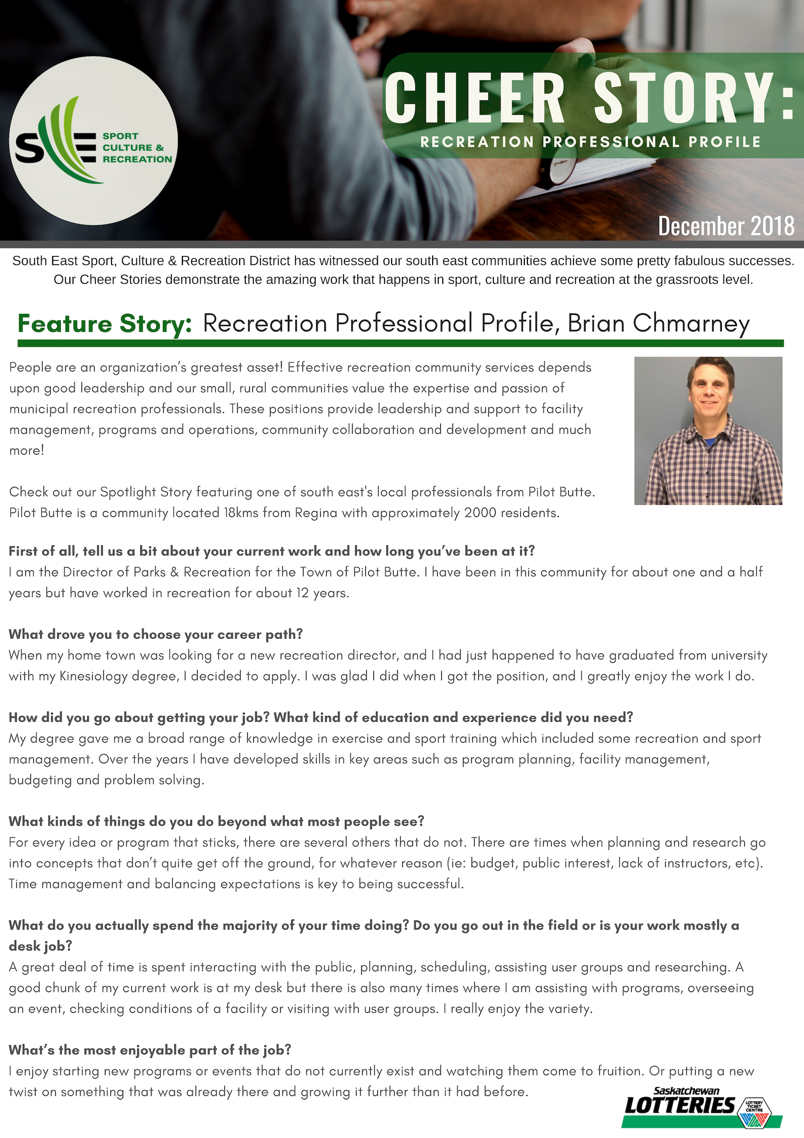 Cheer Story: Recreation Professional Profile, Brian Chmarney - Image 1