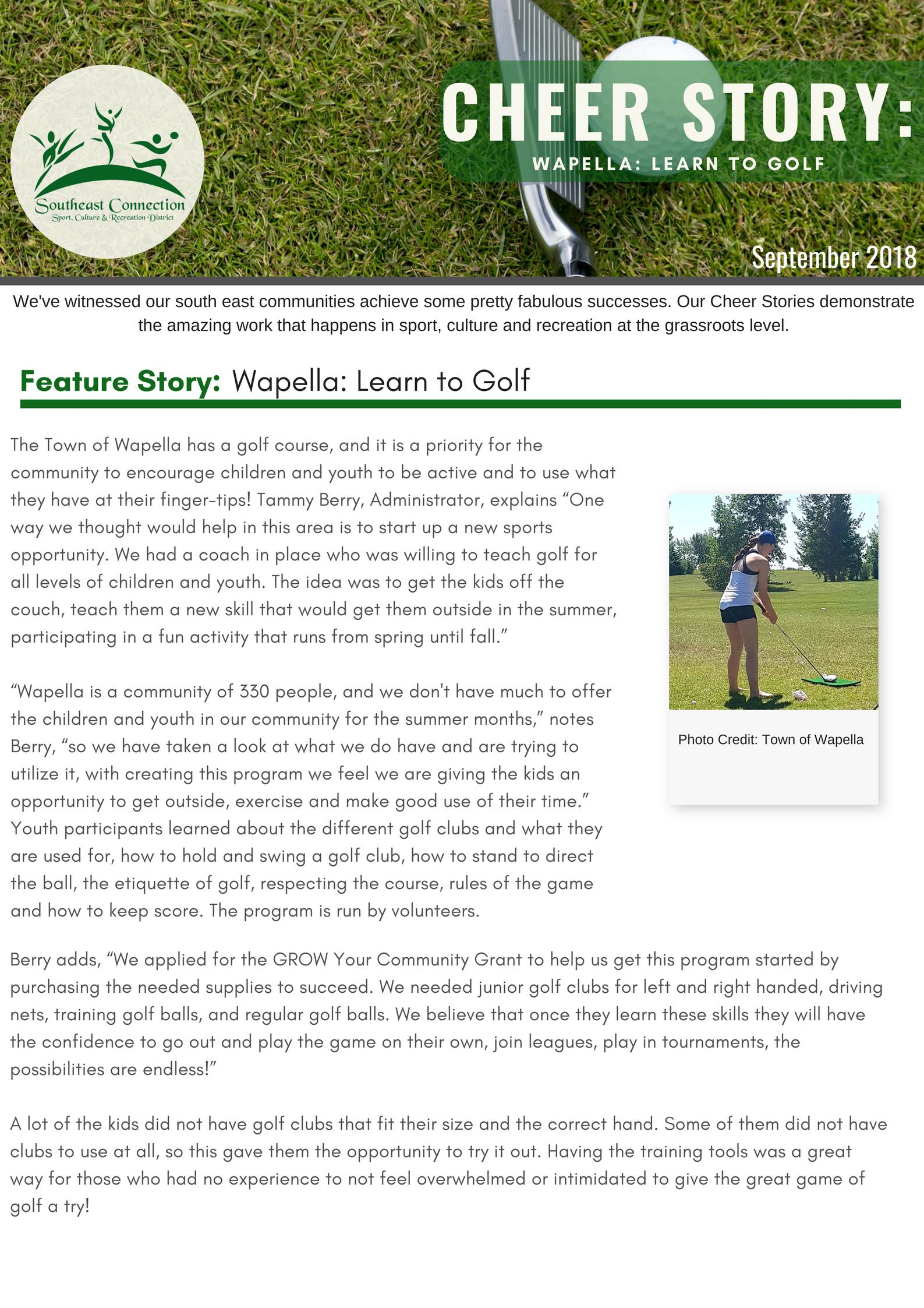 Cheer Story: Wapella Learn to Golf - Image 1